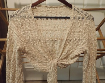 Bohemian Lace Cropped Long Sleeve Top Shrug