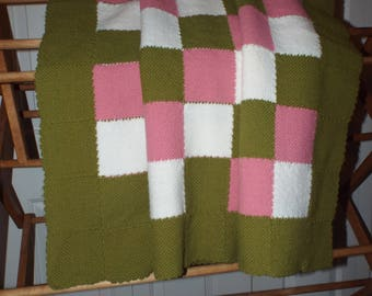 Handmade Knitted Shabby Cottage Vintage Afghan