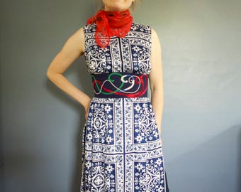 70's ornamental navy blue hand-embroidered maxi dress, XS