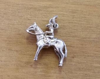 Vintage Sterling Silver Horse and Jockey Bracelet Charm