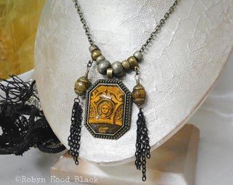 Long Haunted Necklace Antique Magazine Illustration Victorian Gothic Gypsy Boho Assemblage Necklace