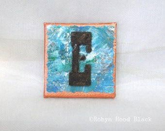 Rustic Letter E and Painted Verdigris Magnet 2 X 2