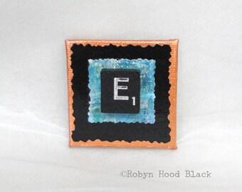 Fancy Scrabble Tile Letter E and Painted Verdigris Magnet 2 X 2