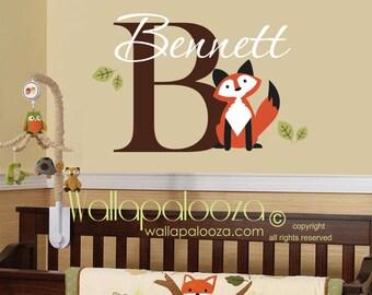 Fox wall decal - fox wall art - fox nursery wall decal - custom fox decal - Nursery wall decal - Nursery wall art - Wallapalooza Wall Decals