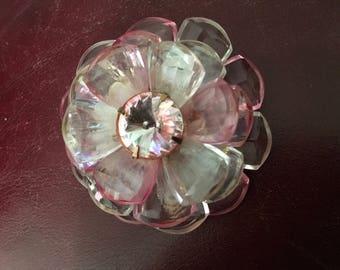 Vintage Lucite Multi Petal Flower Brooch in Pink