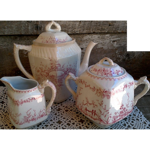 Ridgways Tea Set Set ~ Tea Pot, Creamer, Sugar Pot ~ c. 1800s
