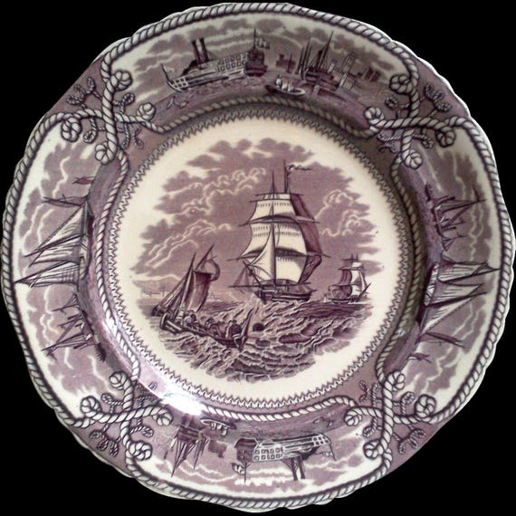 "Mason's American Marine, Purple Mulberry Transferware, ""Rare"", Nautical Dinner Plate, Patent Ironstone Wall Decor"