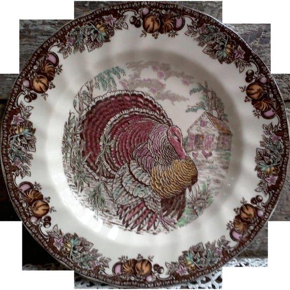 Johnson Brothers Turkey Plate ~ Autumn Monarch Pattern ~ Side Plate ~ Turkey