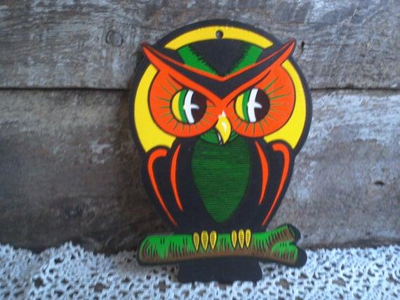 Vintage halloween decor halloween owl beistle die cut owl cardboard owl paper decoration window decor halloween treat halloween gift