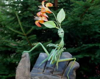 "Bowtruckle Pixie Stick FLOWER SPRITE Fairy - ""Dixie"" - Hand Sculpted Figurine - OOAK - Enchanting and Whimsical!!"