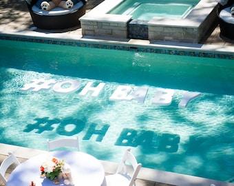Floating pool letters- Styrofoam letter- white block letter- large letter- pool party- floating letter- white letter- pool float-pool signs-