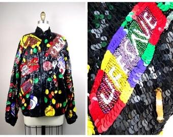 RETRO 80's Sequin Bomber Jacket // Chocolate Candy Sequined Jacket // Fully Embellished Novelty Jacket