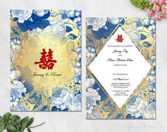 Printable Wedding Invitation Set | Oriental Fusion Blue Floral | Double Happiness | Gold base