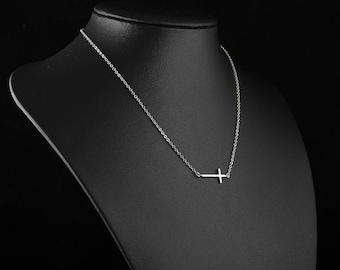Silver Cross Necklace, Dainty Sideways Cross Pendant, Delicate Fine Chain, Simple Layering Necklace