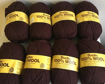 Bucilla 100% Wool Deluxe 4-ply Worsted Knitting yarn (8) Brown Soft - USA Pure Virgin Wool