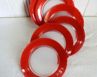 Duralex, dinner plates, in red and white tempered glass yellow, set of 3, vintage french home decor