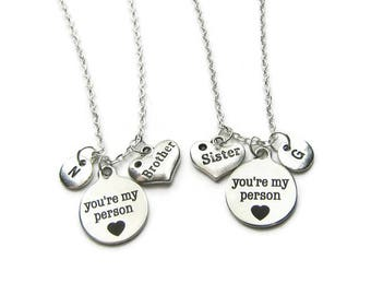 2 You re My Person Brother Sister  Necklaces, Brother And Sister Necklaces, Siblings Necklaces,Sister And Brother Necklaces,Personalized