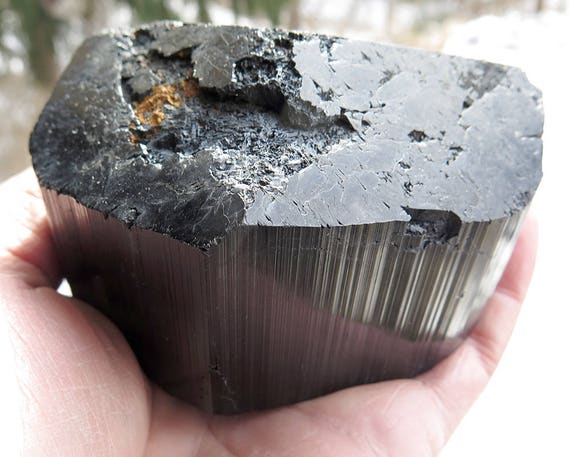 2 pound 1.9 ounce Huge Schorl Crystal. MG Brazil 4 inch by 2.5