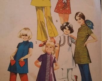 Vintage Simplicity 9535 Sewing Pattern Size 6 Minidress and Bell Bottom  Pants