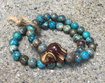 8mm agate gemstone bracelet elephant jewelry elephants bracelets turquoise