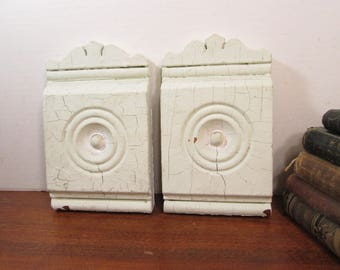Victorian Plinth Blocks, Antique Wood Bullseye Door Trim