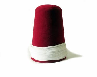 Whirling Dervish white turban Hat, sufi hat ''Sikke''  59~60 cm cherry red