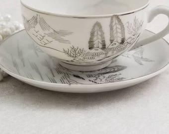 Kutani Lithopane/ Rare Silver teacup with Geisha Lithopane/ Made in Japan / lovely classic Vintage Tea  / Elegant Teacup Set