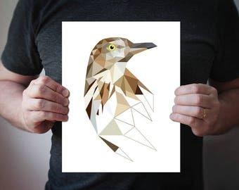 Brown trasher Print - bird print - geometric - brown art - animals - wild bird print - anniversary gift - gardeners gift - nature - nursery