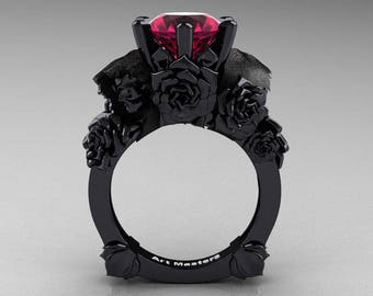 Love and Sorrow 5K Black Gold 3.0 Ct Raspberry Red Ruby Skull and Rose Solitaire Engagement Ring R713-5KBGRR