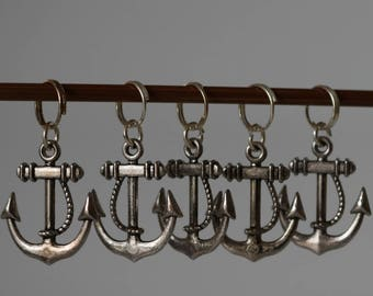 Silver plated anchor stitch markers
