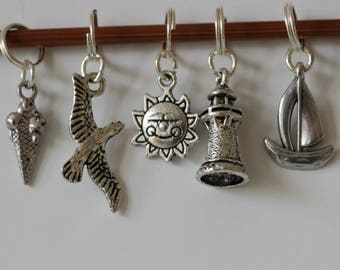Silver plated seaside stitch markers