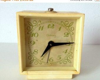 "SALE Vintage alarm clock, Soviet alarm clock ,Russian alarm clock ,yellow Mechanical clock alarm ,WORKING,  USSR ""Sevani"""