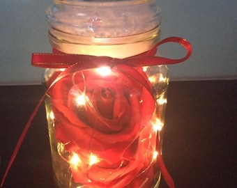 Decorative Jar with Lights and Red Roses