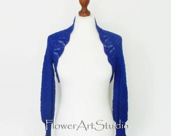 Royal Blue Wedding Bolero Shrug Crochet Knitted Capelet Bridal Cape Bright Blue Wedding Wrap Bridal Shawl Bridal Cover Up Bridesmaid Shawl