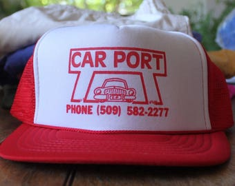 Vintage Red and White Car Port 1980s Trucker Hat