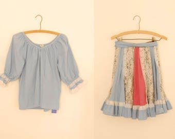 Blue Lace Trimmed Shirt and Skirt Matching Set - 1980s
