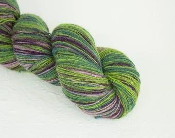 Knitting art wool green purple colors, Longstriped artistic wool. Aade Long - Grey-Lila  8/1
