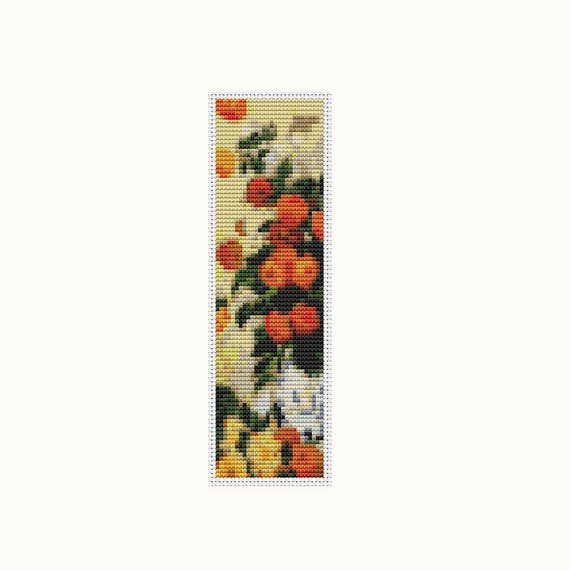 Dahlias Bookmark Cross Stitch Kit Embroidery Kit Art