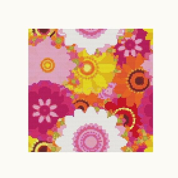 Floral cross stitch chart summer flowers
