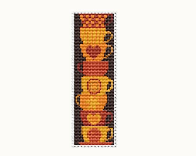 Bookmark Cross Stitch Pattern PDF, Embroidery Chart, Art Cross Stitch, Stack of Cups (BK26)