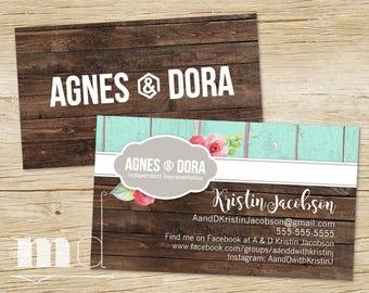 Agnes and Dora Business Card Distressed Teal Wood, Custom Agnes & Dora Business Cards, Marketing, Branding, Rustic Shabby Chic PRINTABLE