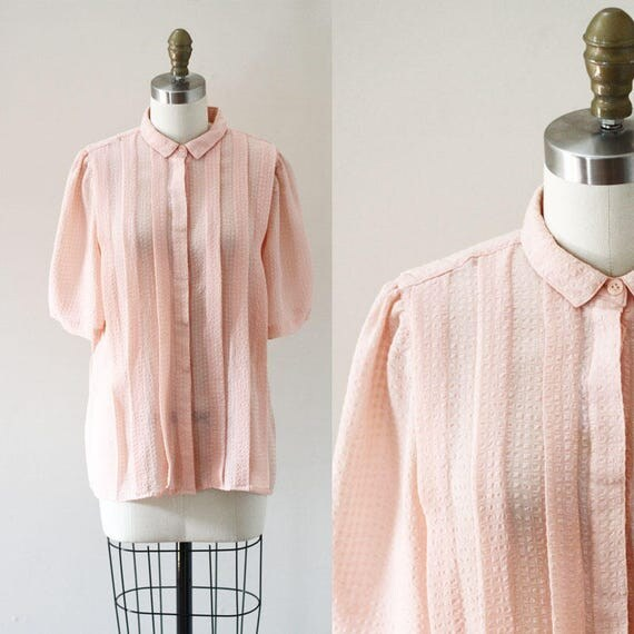 1980s pink pleated blouse // 1980s day blouse // 1980s blouse