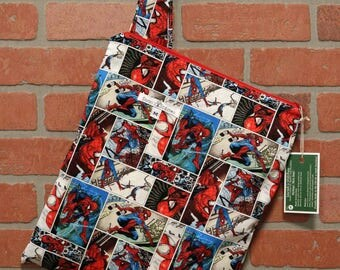 Cloth Diaper Wetbag, Spiderman, Diaper Pail Liner, Diaper Bag, Day Care Size, Holds 5 Diapers, Size Medium with Handle item #M76