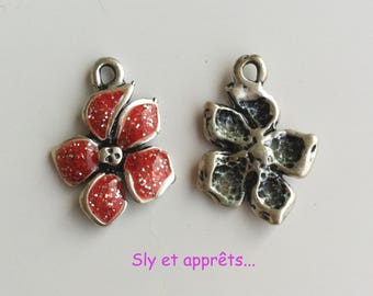 2 charms 19x14mm enameled flower