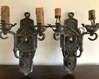 Vintage Wall Sconce Pair