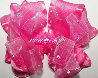 Pageant Hair Bow, Hot Pink Ruffle Clip, Hot Pink Ombre Organza Ruffle Ribbon Bow, Girls Hot Pink Bow Barrette, Glitz Hot Pink Bow Hair Bands