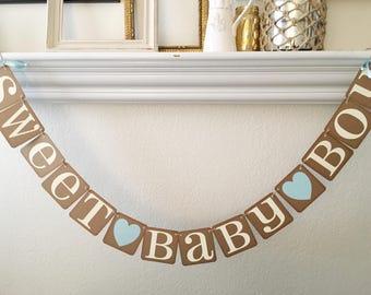 Sweet Baby Boy Banner Baby Shower Banner Pregnancy Announcement