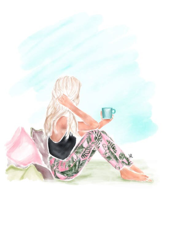 Girly watercolor, fashion watercolor, pink print, palm leaves, daydreamer, gifts for her, coffee lover, gifts for mom, fashionista