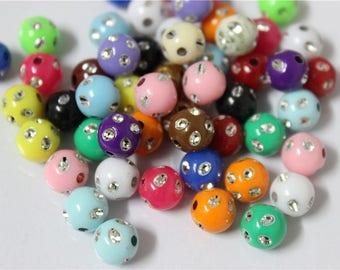 150 multicolored 8mm acrylic beads