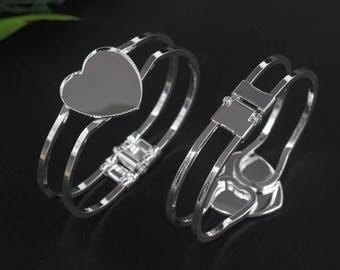 5 pcs Bracelet Bangle Bezel heart 25mm Blanks